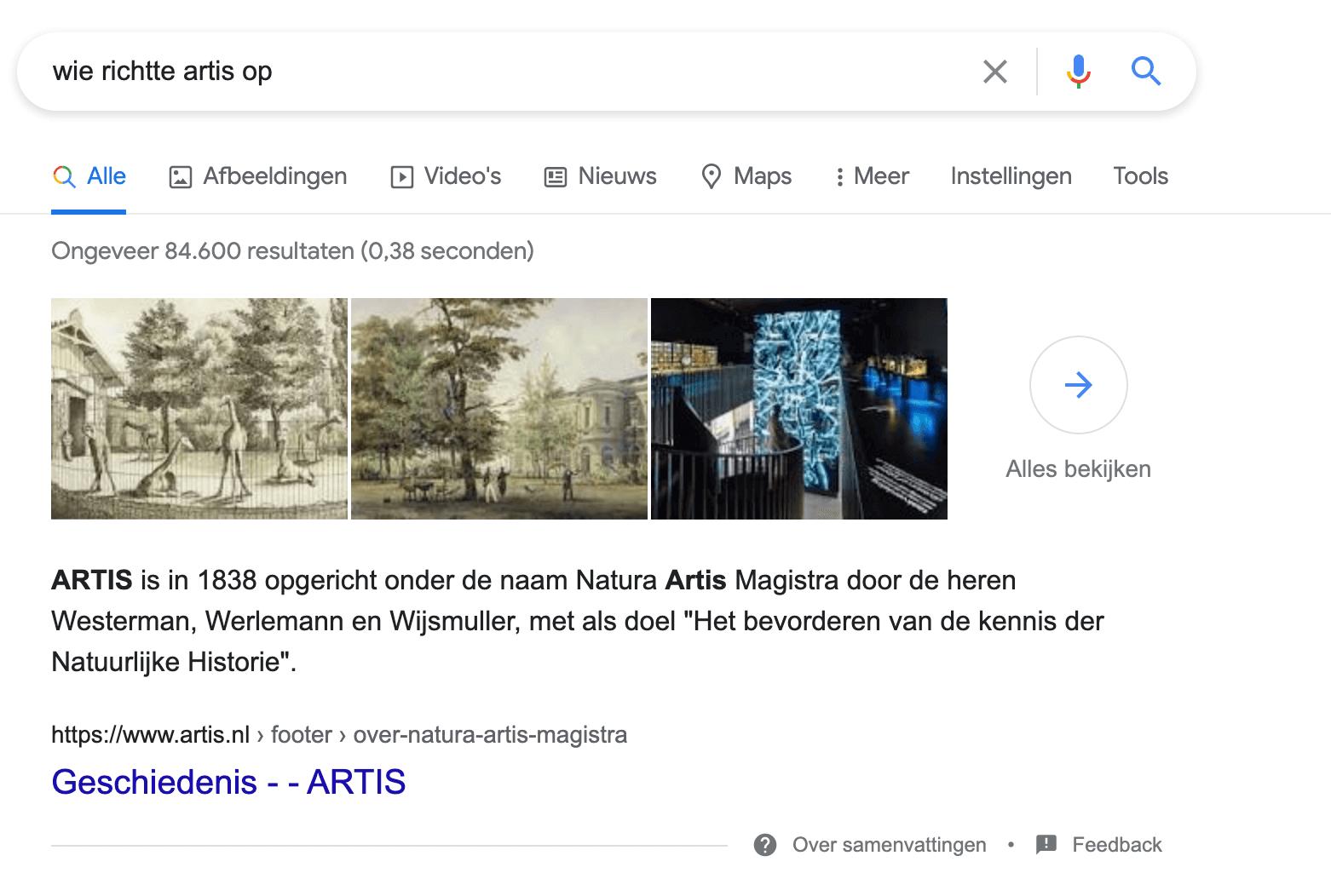 zero click search voorbeeld